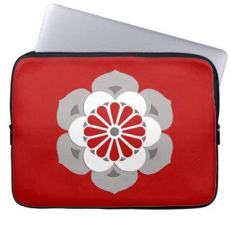 Lotus Flower Mandala, Dark Red, Gray and White Laptop Sleeve
