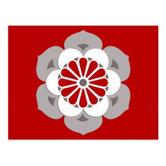 Lotus Flower Mandala, Dark Red, Gray and White Postcard