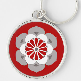 Lotus Flower Mandala, Dark Red, Gray and White Silver-Colored Round Keychain