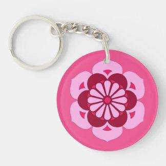 Lotus Flower Mandala, Fuchsia Pink and Burgundy Double-Sided Round Acrylic Keychain