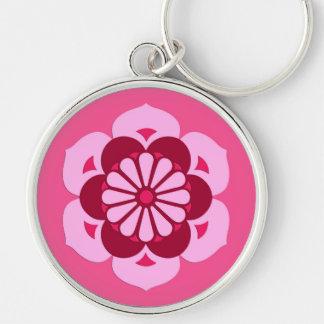 Lotus Flower Mandala, Fuchsia Pink and Burgundy Silver-Colored Round Keychain