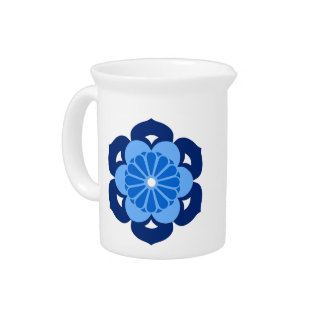 Lotus Flower Mandala, Indigo and Light Blue Beverage Pitcher