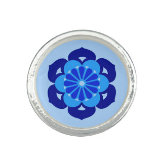 Lotus Flower Mandala, Indigo and Light Blue Photo Ring
