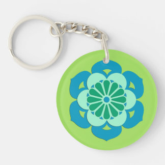 Lotus Flower Mandala, Lime Green and Light Blue Double-Sided Round Acrylic Keychain