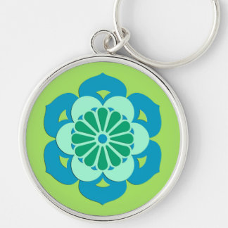Lotus Flower Mandala, Lime Green and Light Blue Silver-Colored Round Keychain