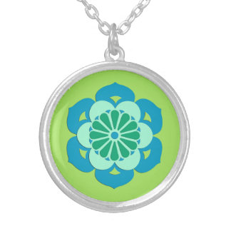 Lotus Flower Mandala, Lime Green and Light Blue Silver Plated Necklace
