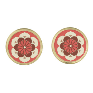 Lotus Flower Mandala, Mandarin Orange Cufflinks