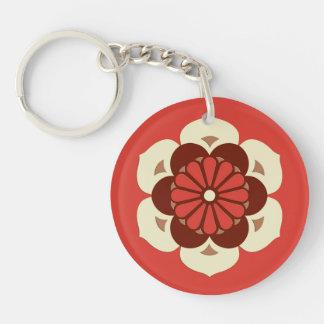 Lotus Flower Mandala, Mandarin Orange Double-Sided Round Acrylic Keychain