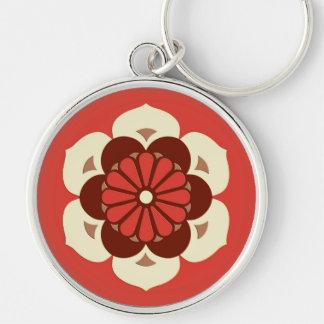 Lotus Flower Mandala, Mandarin Orange Silver-Colored Round Keychain