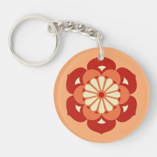 Lotus Flower Mandala, Pastel Orange and Mandarin Double-Sided Round Acrylic Keychain