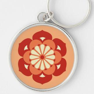 Lotus Flower Mandala, Pastel Orange and Mandarin Silver-Colored Round Keychain