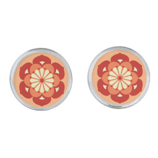 Lotus Flower Mandala, Pastel Orange and Mandarin Silver Cufflinks
