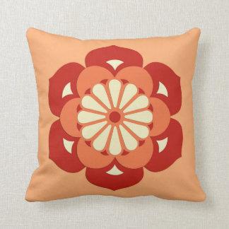 Lotus Flower Mandala, Pastel Orange and Mandarin Throw Pillow