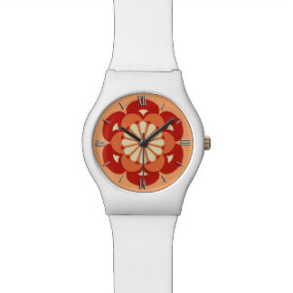 Lotus Flower Mandala, Pastel Orange and Mandarin Wrist Watch