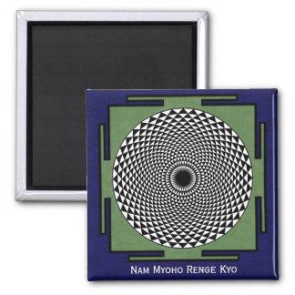 Lotus flower meditation wheel 2 inch square magnet