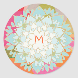 Lotus Flower Monogrammed Sticker