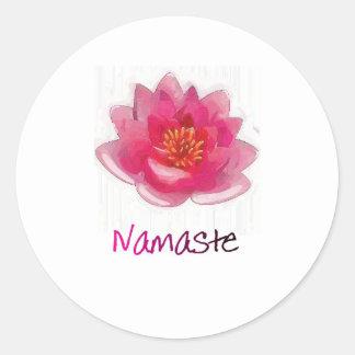 "Lotus Flower ""Namaste"" Yoga Gifts Classic Round Sticker"