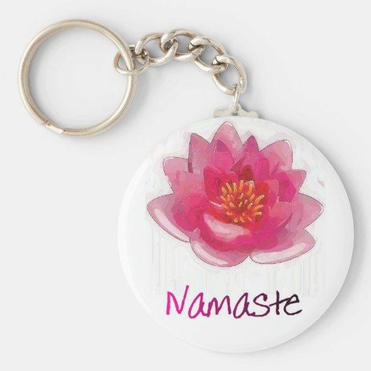 """Lotus Flower """"Namaste"""" Yoga Gifts Keychain"""