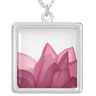 Lotus flower [Nelumbio speciosum] in full Square Pendant Necklace