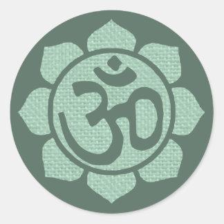 lotus flower ohm classic round sticker