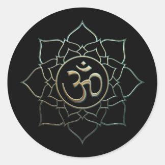 Lotus Flower Om Classic Round Sticker