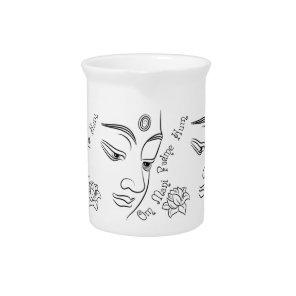 Lotus flower Om Mani Padme Hum Black Beverage Pitcher