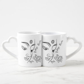Lotus flower Om Mani Padme Hum Black Coffee Mug Set