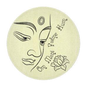 Lotus flower Om Mani Padme Hum Black Cutting Board
