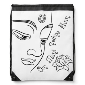 Lotus flower Om Mani Padme Hum Black Drawstring Bag