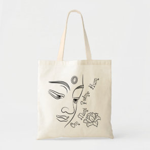 Lotus flower Om Mani Padme Hum Black Tote Bag