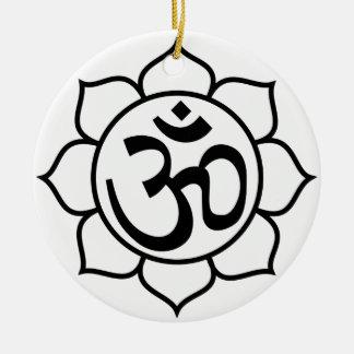 Lotus Flower Om Symbol Ceramic Ornament