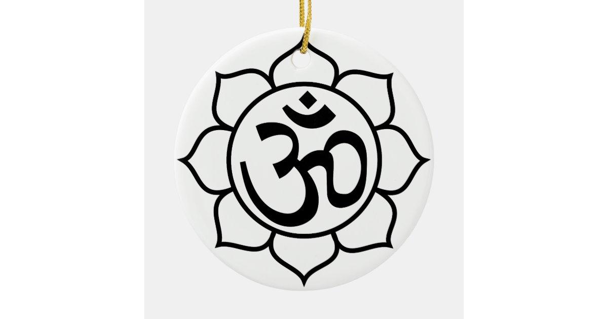 Lotus Flower Om Symbol Ceramic Ornament Zazzle