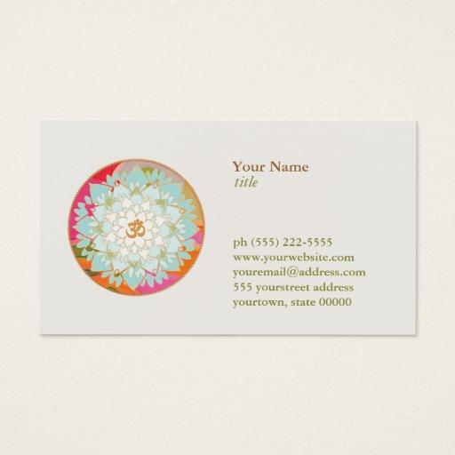 Lotus Flower OM Symbol Yoga Meditation Teacher Business Card