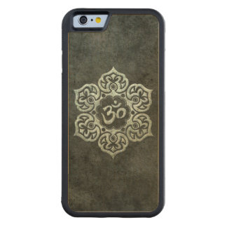 Lotus Flower Om with Aged Steel Effect Carved Maple iPhone 6 Bumper Case