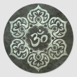 Lotus Flower Om with Aged Steel Effect Classic Round Sticker