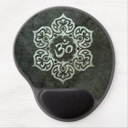 Lotus Flower Om with Aged Steel Effect Gel Mouse Mats