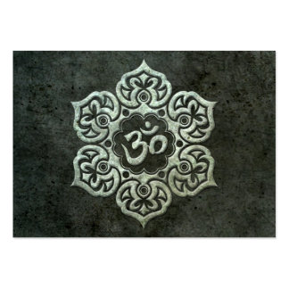 Lotus Flower Om with Aged Steel Effect Large Business Cards (Pack Of 100)