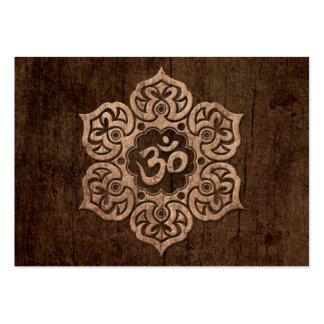 Lotus Flower Om with Wood Grain Effect Large Business Cards (Pack Of 100)