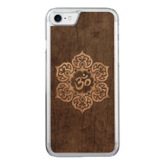 Lotus Flower Om with Wood Grain Effect Carved iPhone 7 Case
