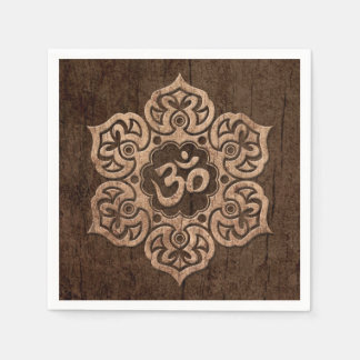 Lotus Flower Om with Wood Grain Effect Disposable Napkin