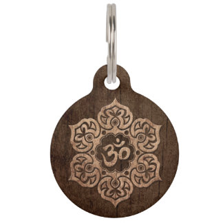 Lotus Flower Om with Wood Grain Effect Pet Name Tags