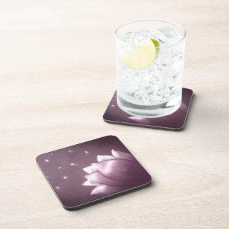 Lotus flower on purple background beverage coaster