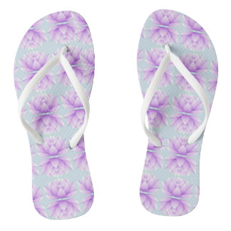 Lotus Flower Pattern Flip Flops