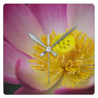 lotus flower petals square wall clock