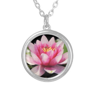 Lotus Flower Pink Custom Silver Plated Necklace