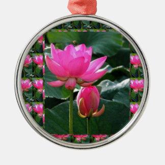Lotus Flower Pink Round Metal Christmas Ornament