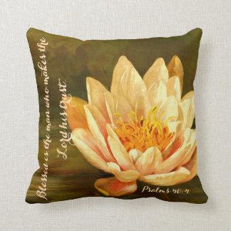 Lotus Flower Psalms 40 Throw Pillow