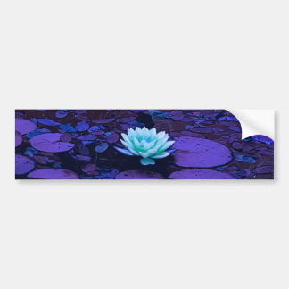 Lotus Flower Purple Blue Turquoise Floral Pond Zen Bumper Sticker