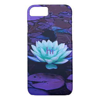 Lotus Flower Purple Turquoise Floral Monogrammed iPhone 7 Case