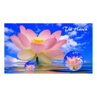 Lotus Flower Reflections & Bubbles of Peace Business Card Template